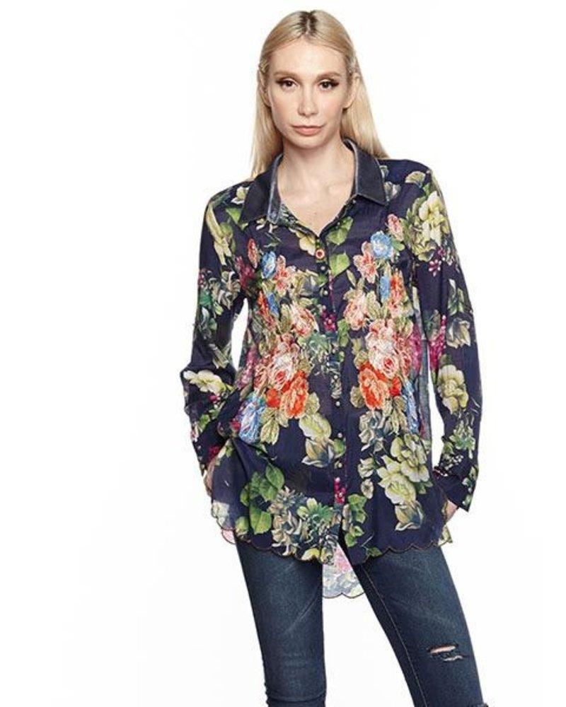 Aratta Aratta's Night Blue Floral Clare Shirt