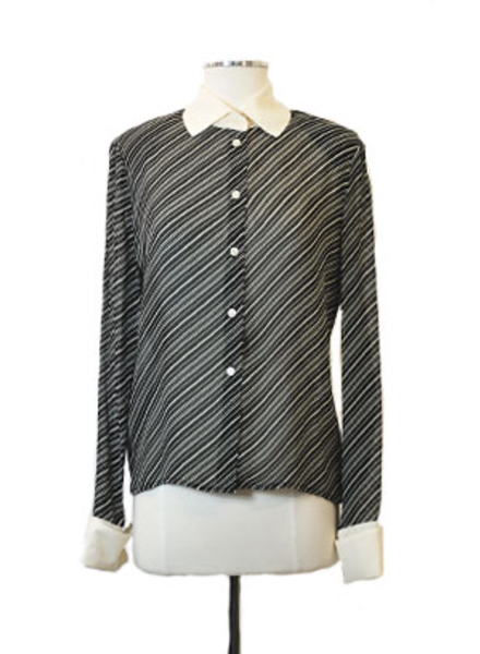 Vintage Raffinalla Le Collezioni Black & White Striped Blouse