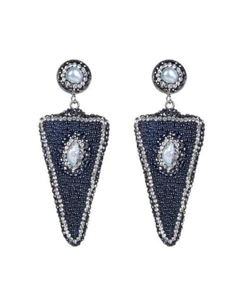 Triangle Pearl Earrings In Black