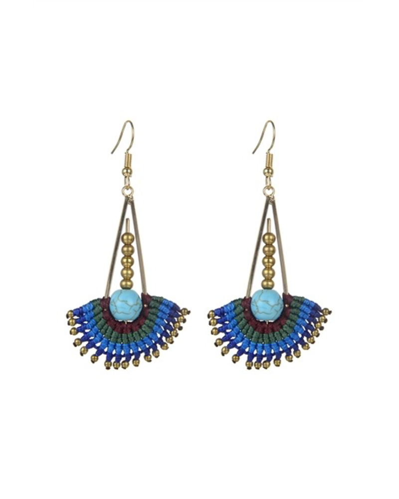 Boho Woven Earrings In Blue