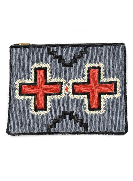 Ink + Alloy Double Red Cross Beaded Clutch