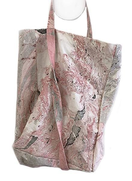 Ink + Alloy Watercolor Tote In Pink & Grey