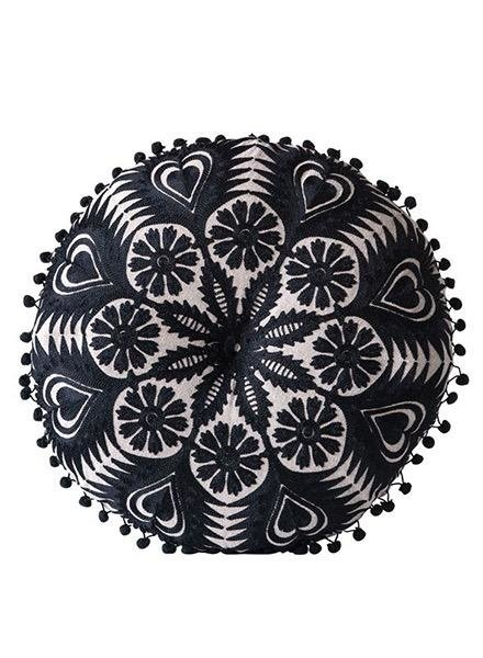 """15"""" X 4.5"""" Cotton Embroidered Pillow With Pom Poms, Black"""