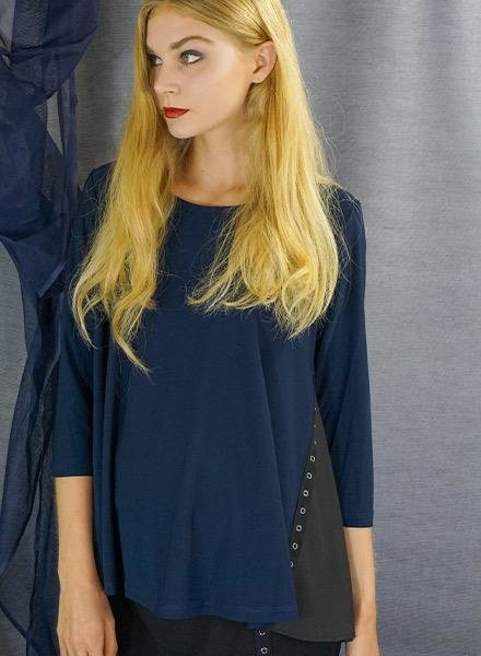 Comfy's Sun Kim Gina Top In Denim & Black