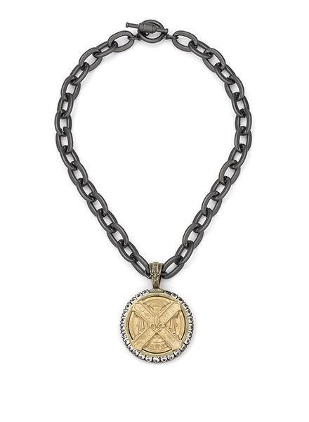 "French Kande French Kande 17.5"" Lourdes Chain 14K Gold Cuvee B Medallion"
