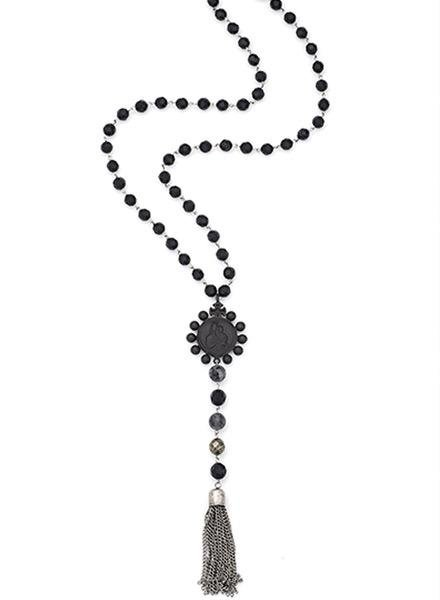 "French Kande French Kande 28"" Onyx Links With Nightfall Mix & Black Crowning mary Medallion"