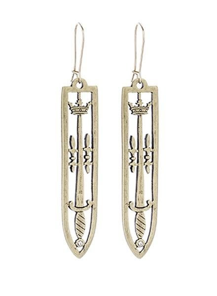 French Kande French Kande Brass Sword & Crown Earrings