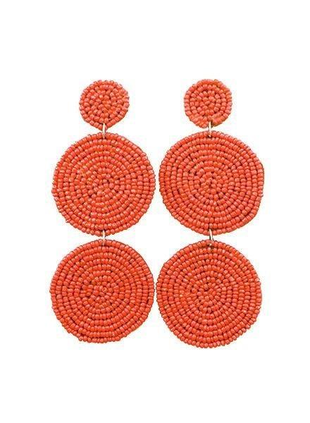 Three Tiered Disk Earrings In Orange