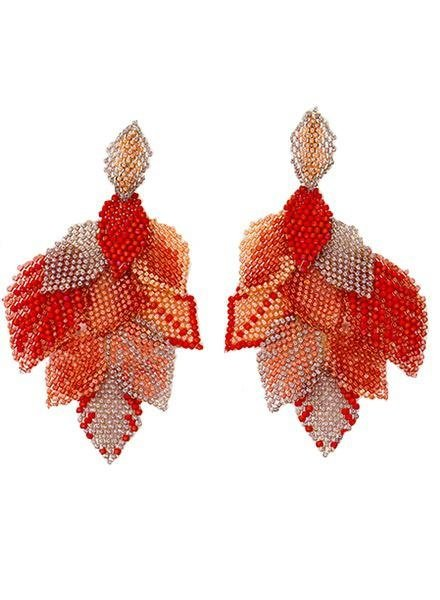 KVZ Handbeaded Leaf Earrings In Peach