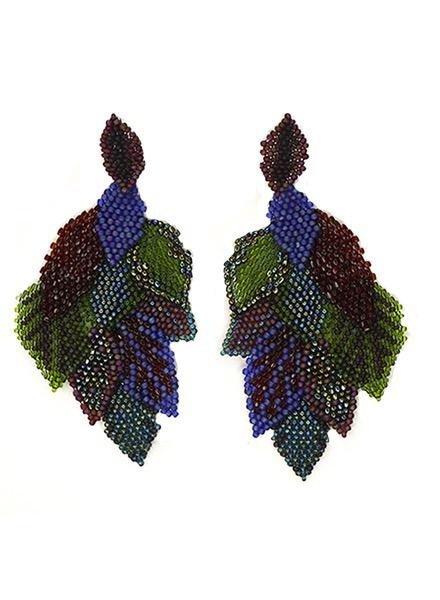 KVZ Handbeaded Leaf Earrings In Peacock
