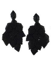 KVZ Handbeaded Leaf Earrings In Black