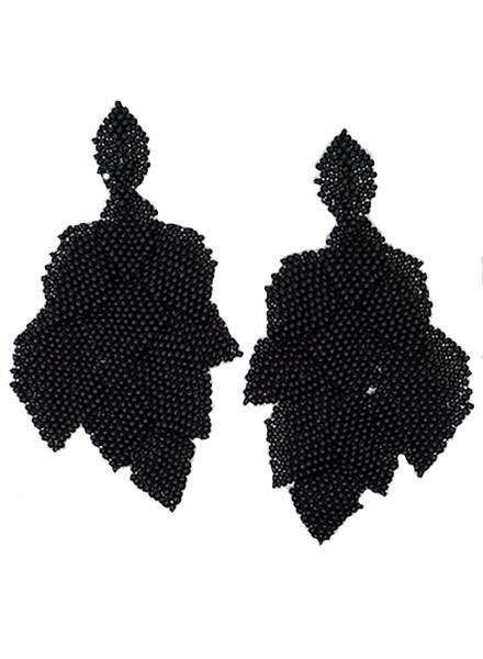 KVZ Handbeaded Leaf Earrings In Black
