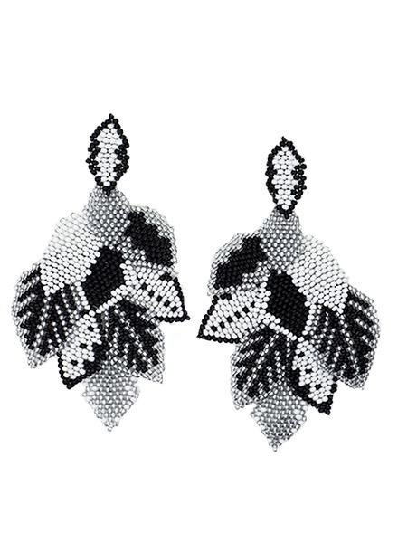 KVZ Handbeaded Leaf Earrings In Black & White