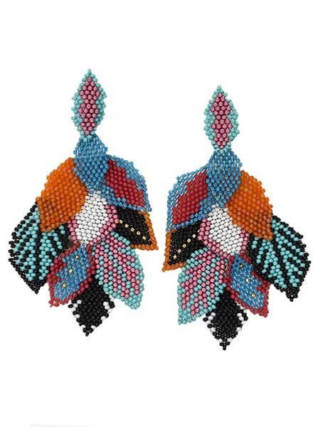 KVZ Handbeaded Leaf Earrings In Pucci