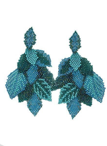 KVZ Handbeaded Leaf Earrings In Aqua