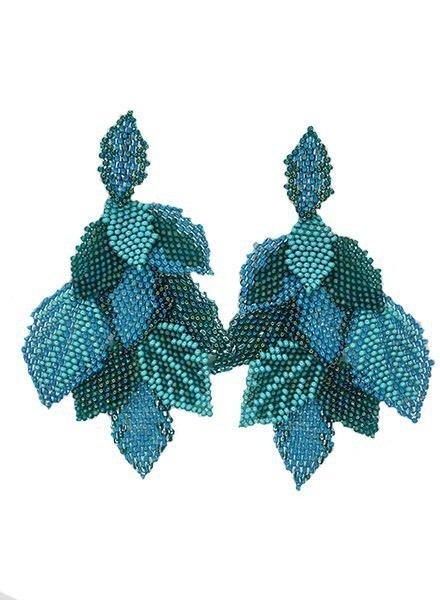 KVZ KVZ Handbeaded Leaf Earrings In Aqua