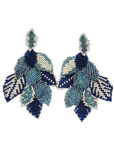 KVZ Handbeaded Leaf Earrings In Denim