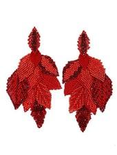 KVZ handbeaded Leaf Earrings In Coral Red