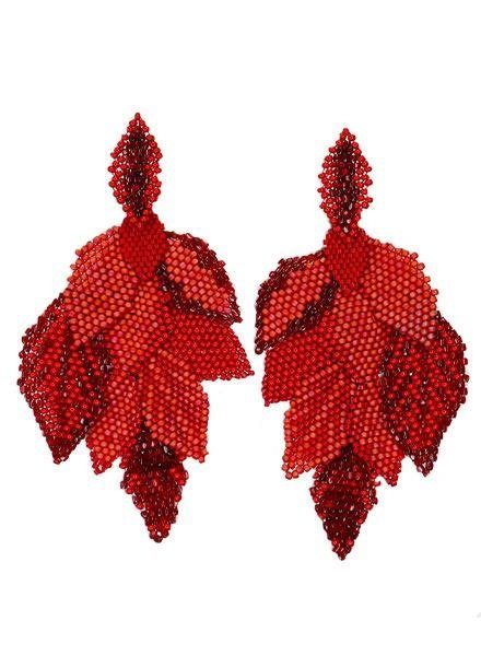 KVZ handbeaded Leaf Earrings In Coral Red