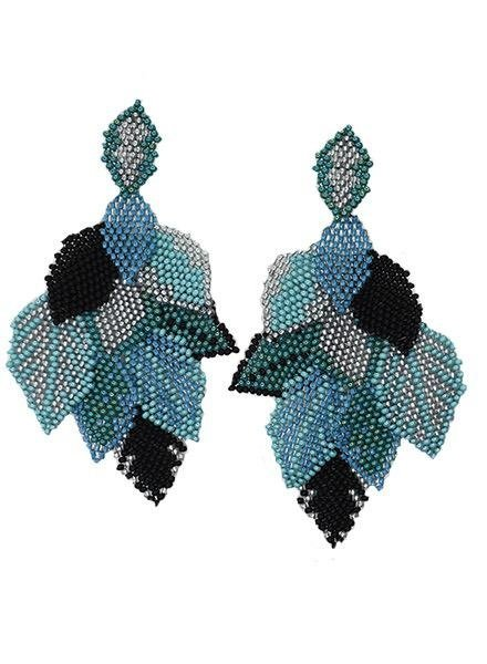 KVZ Handbeaded Leaf Earrings In Black & Aqua
