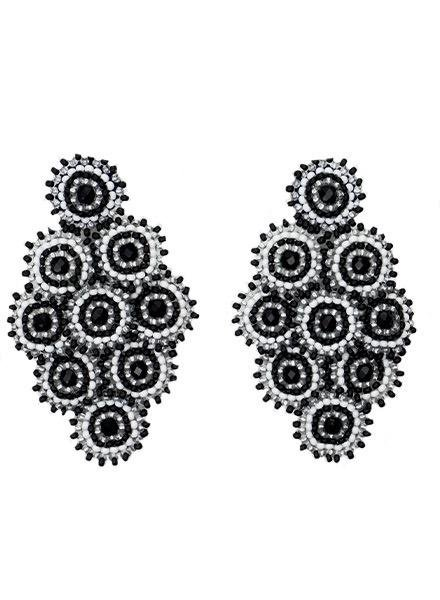 KVZ Nine Tiny Medallion Earrings In Black White & Silver