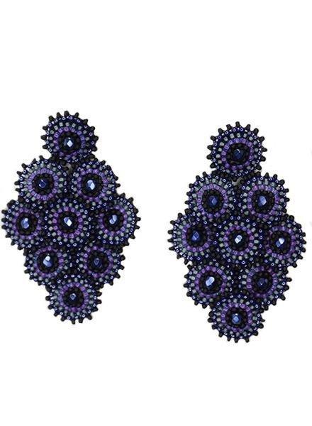 KVZ Nine Tiny Medallion Earrings In Purple