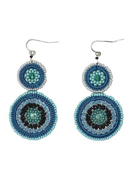 KVZ Handbeaded Fino Earrings In Black & Aqua