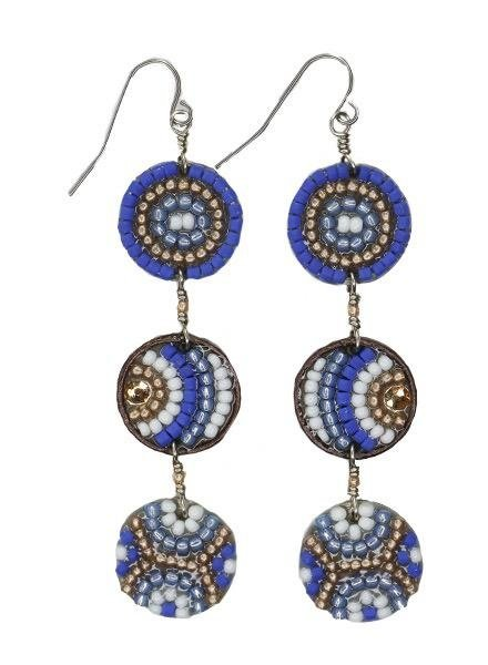 KVZ Mosaic Triple Centavo Coin Earrings In Greek Holiday
