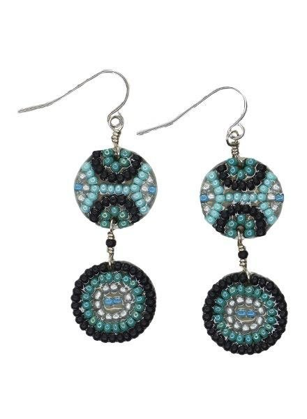 KVZ Mosaic Double Centavo Coin Earrings in Black & Aqua