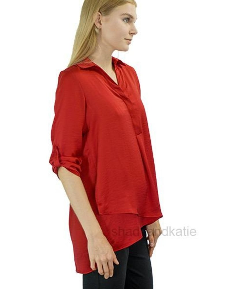 Renuar Renuar's Soft And Beautiful Blouse In Ruby Red