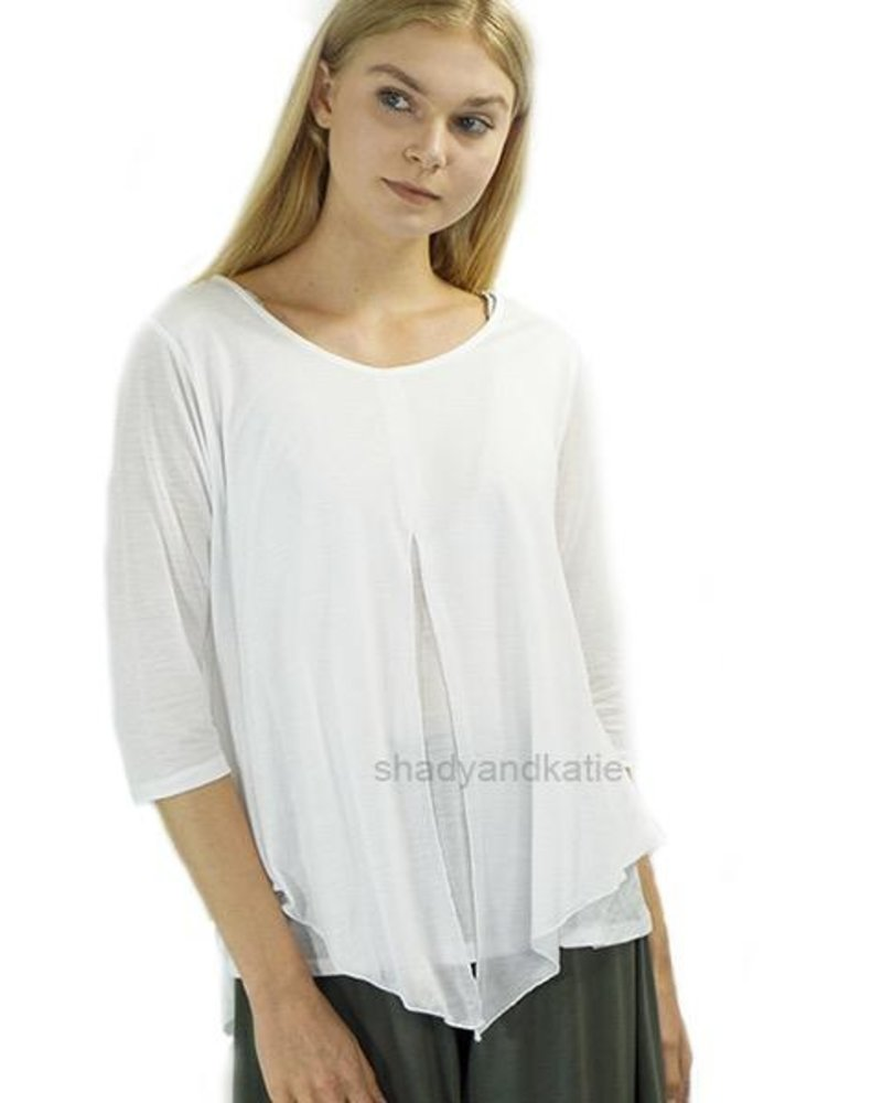 Just Jill Flutter Top In White