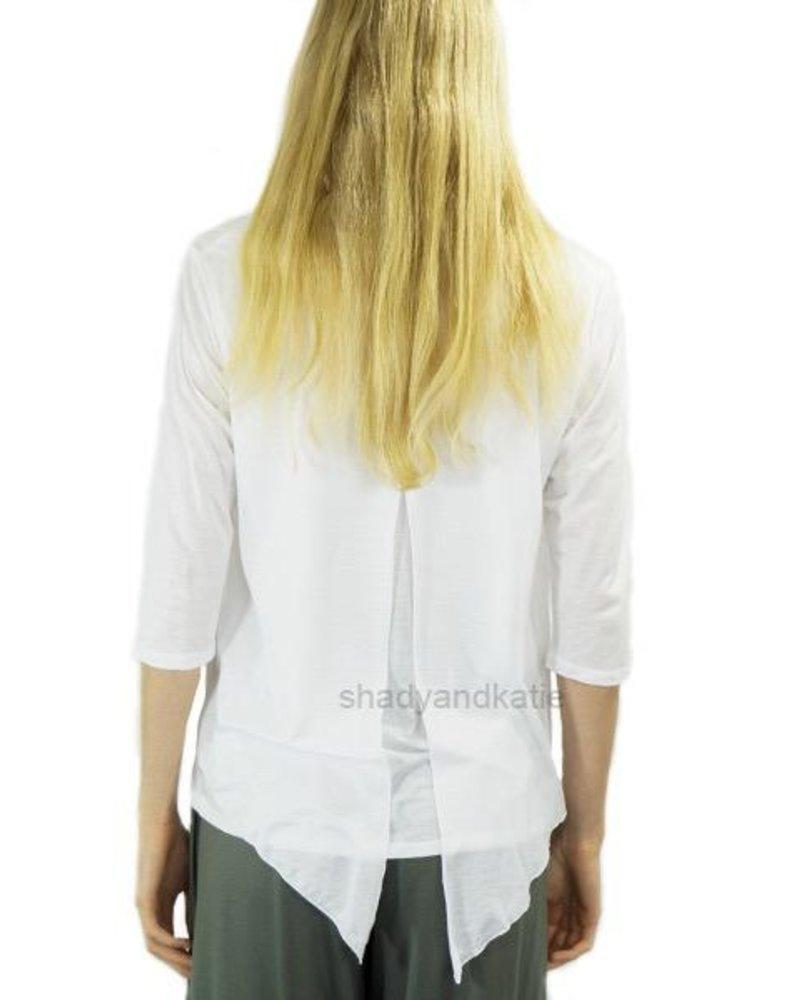 Just Jill Flutter Top In White
