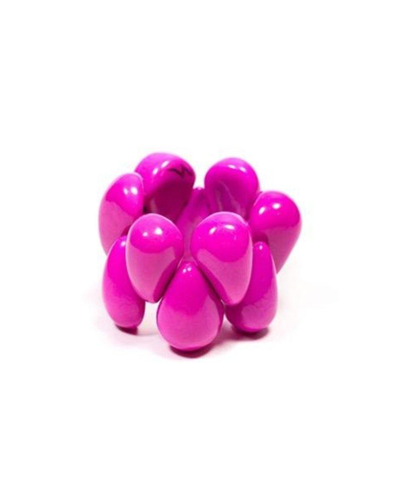 Tagua Raindrop Bracelet In Fushia Pink