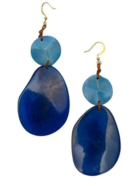 Tagua Peggy Earrings In Biscayne Bay Blue