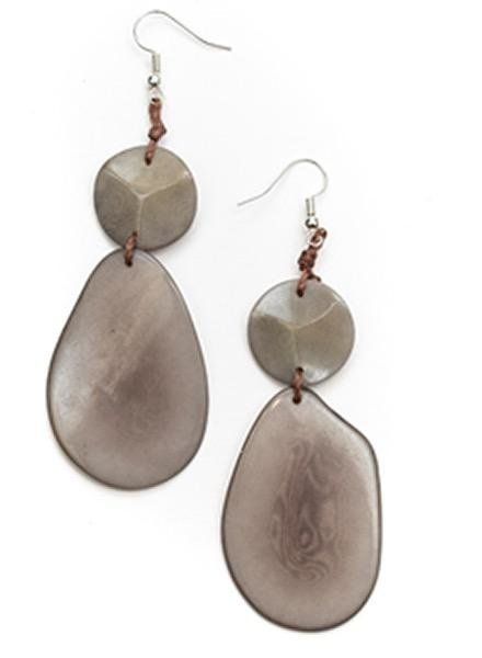 Tagua Peggy Earrings In Charcoal Gray