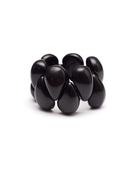 Tagua Raindrop Bracelet In Black