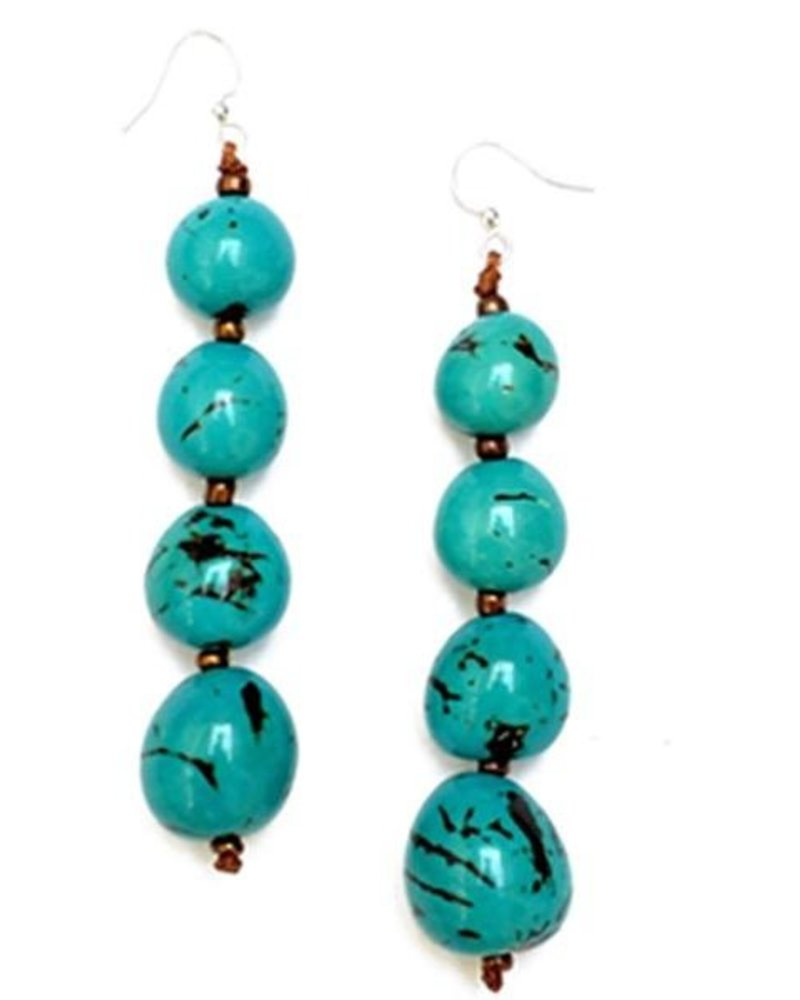 Tagua Bonbom Earrings In Turquoise
