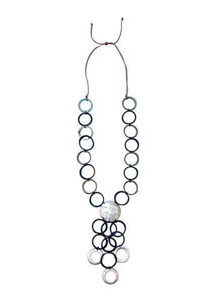 Tagua Vivi Necklace In Blue Combo