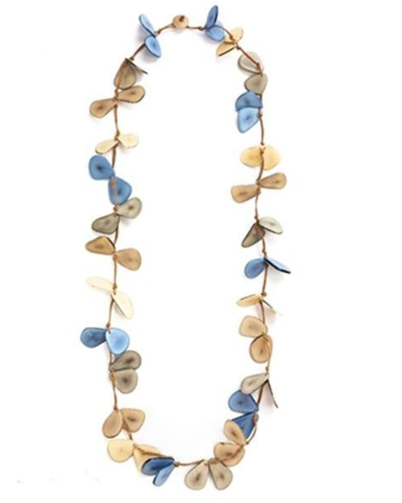 Tagua Slice Necklace In Biscayne Bay Combo