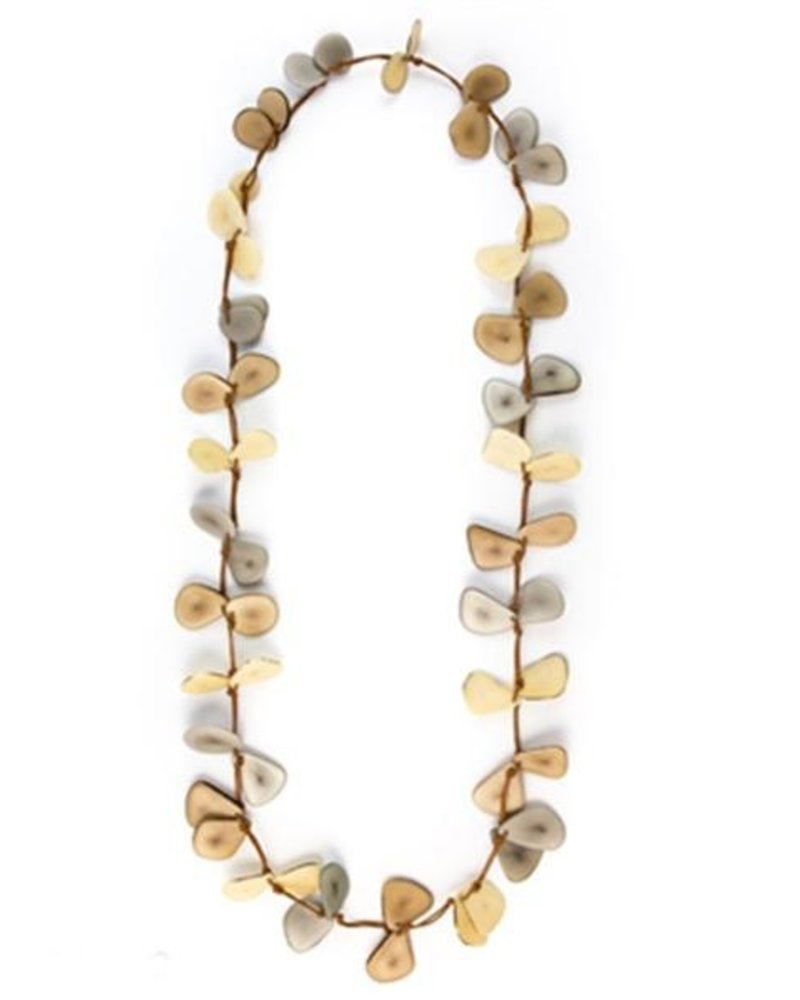 Tagua Slice Necklace In Cafe Con Leche Combo