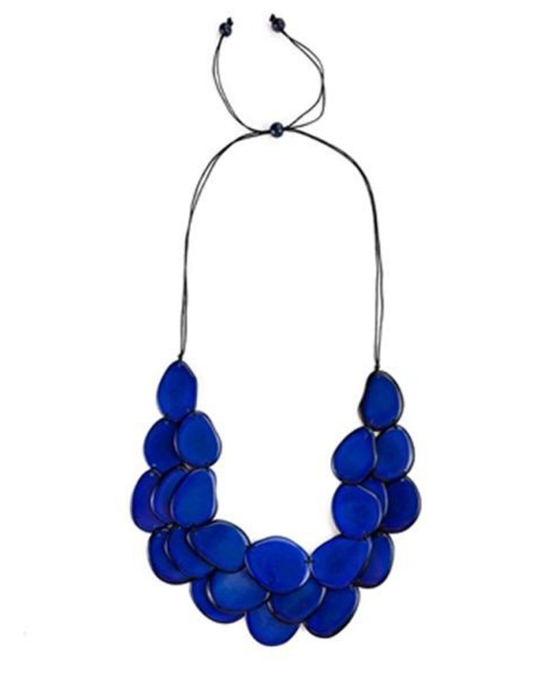 Tagua Amigas Necklace In Royal Blue