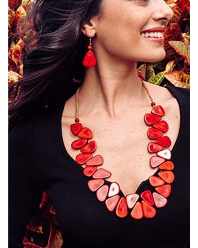 Tagua Samantha Necklace In Red
