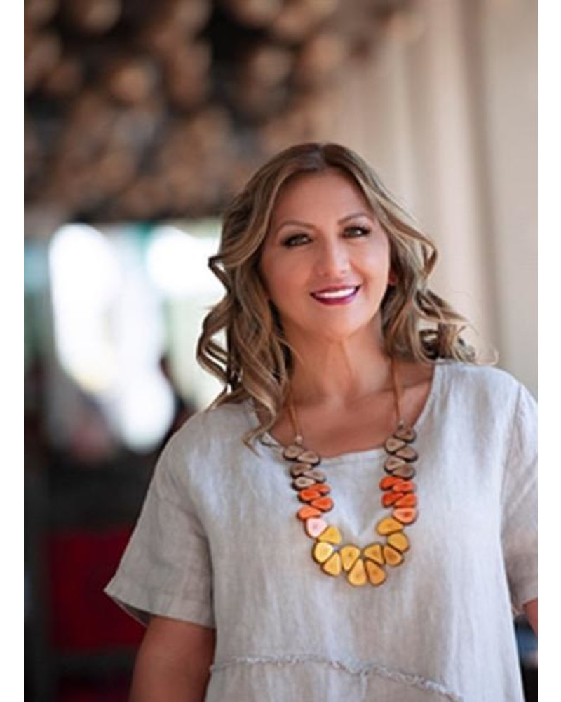 Tagua Samantha Necklace In Orange Combo