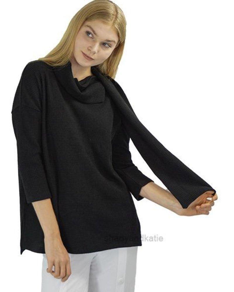 Terra Terra's Scarf Neck Sweater In Black
