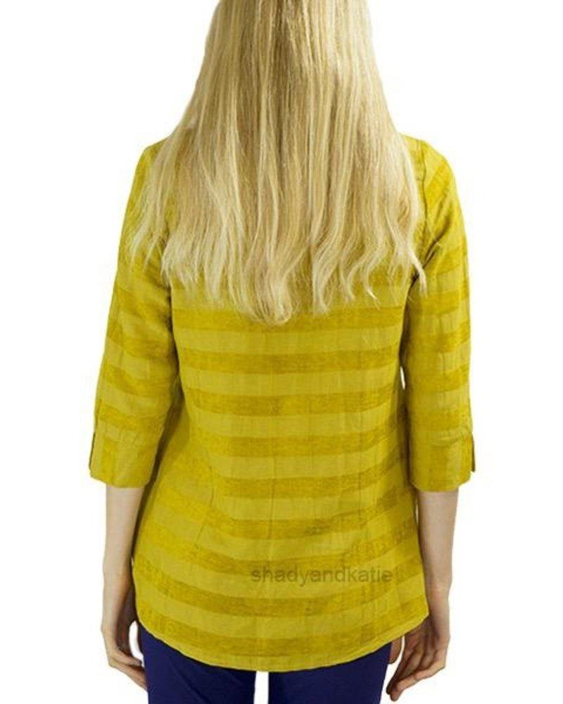 Terra Terra Pullover Tunic In Velvet Mustard Stripe