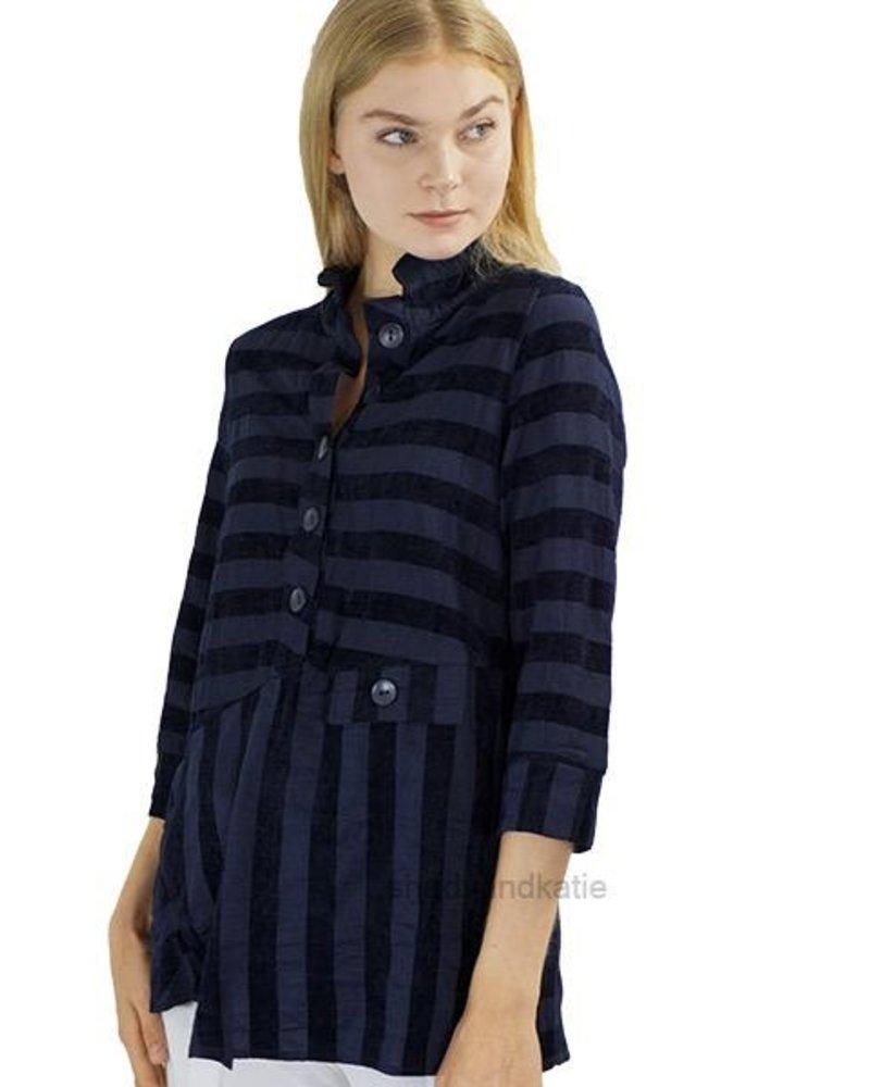 Terra Terra Pullover Tunic In Velvet Navy Stripe