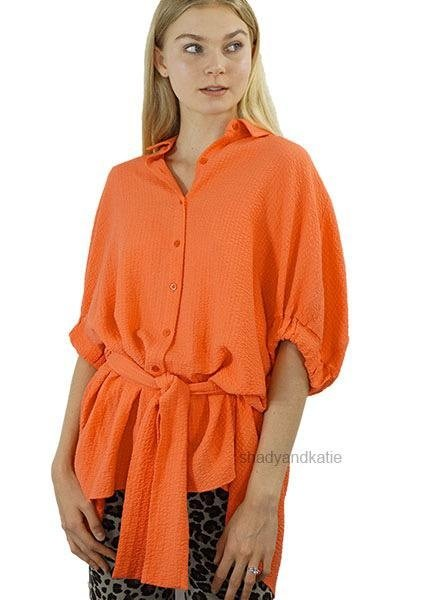Renuar Renuar Pebble Top In Hot Coral