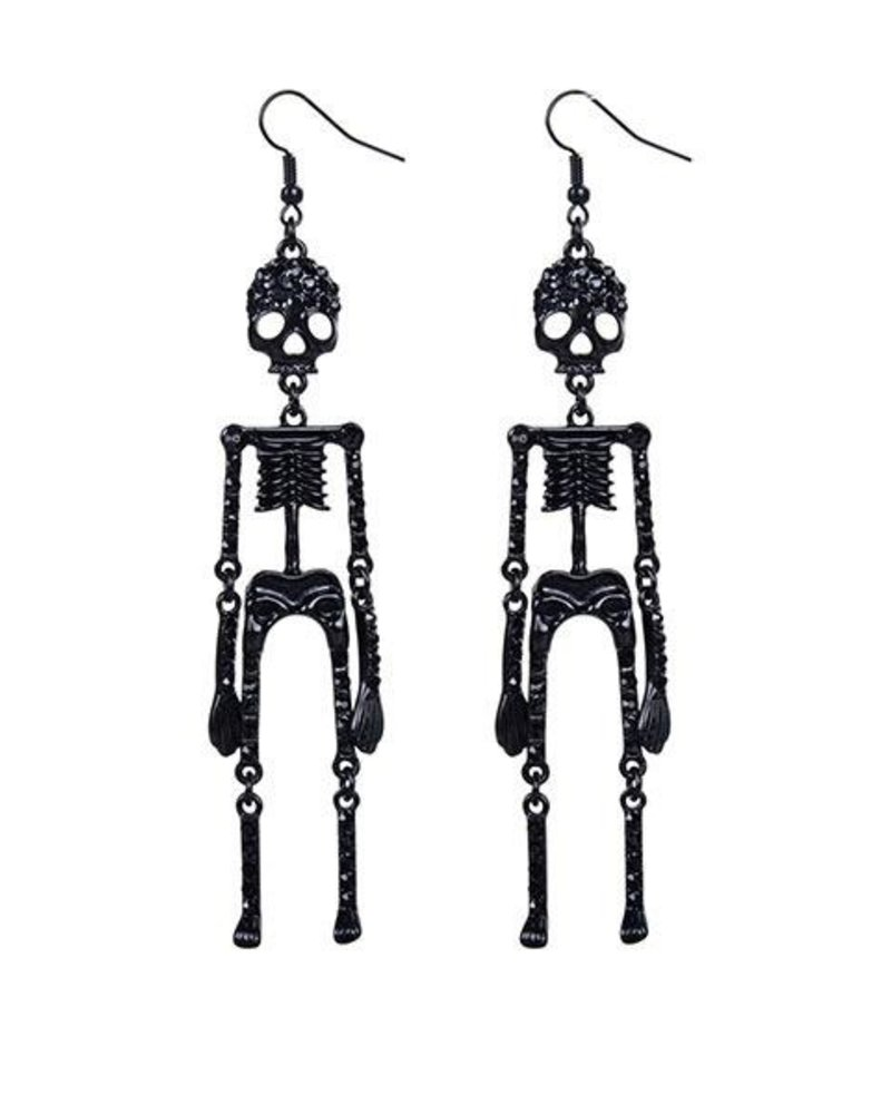 Skeleton & Crystals Earrings In Black