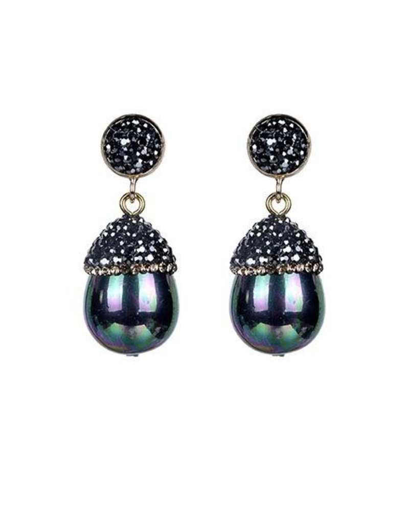 Oval Pearlescense and Crystal Earrings