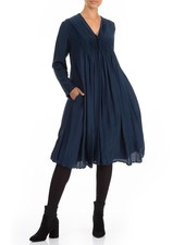 Griza Romantic Silk Bamboo Dress In Navy